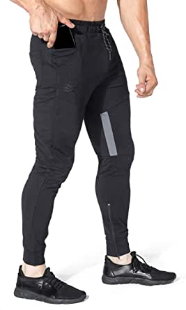 BROKIG Mens Slim Tapered Tracksuit Bottoms Gym Jogger Running Trousers Casual Jogging Pants with Zipper Pocket