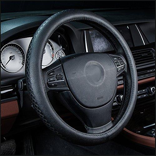 Preisvergleich Produktbild Auto Leder Lenkradbezug Universal 38 cm atmungsaktiv rutschfeste Rad Sleeve Displayschutzfolie