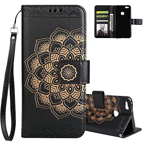"""Aeeque Luxe Coque Huawei P10 Lite Noir en PU Cuir Mandala Fleur Motif Flip Housse Cover Clapet Support avec Carte de Crédit Fentes Livre Étui Telephone Portable Protection pour Huawei P10 Lite 5.2"""""""