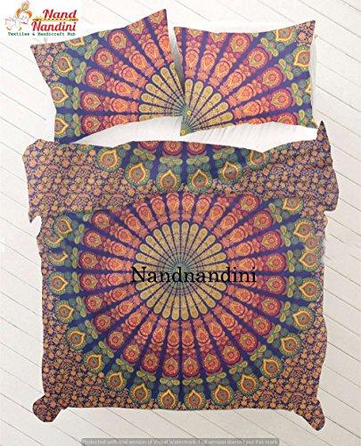 nandnandini Textil–Weihnachten Dekorative Mandala Bettdeckenbezug mit passenden Kissenbezügen von labhanshi, Bettwäsche, Bettdecken, Mandala, Mandala, Schlafzimmer, Mandala, Decor, Boho Tröster,