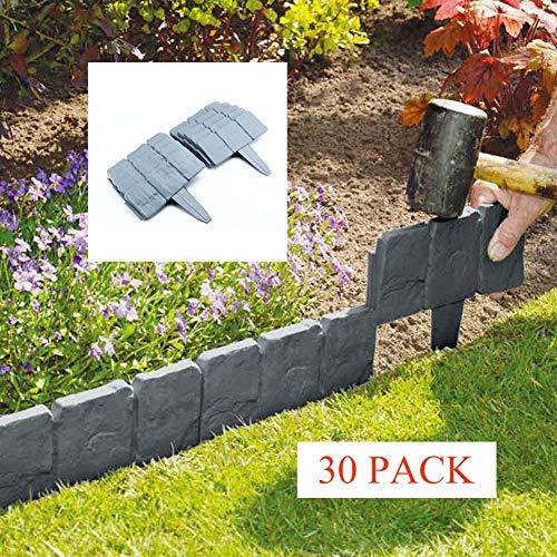 Lakeland Stein (DINGL Rasenbegrenzer in T-Form ABS-Kunststoff Gartenzaun Zaun Pflasterstein Effekt Garten Rasenkante 30 Pack grau)