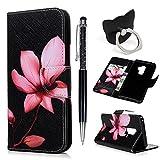 Hülle für Samsung Galaxy S9 Plus Badalink Lotus Handyhülle Leder PU Cover Magnet Flip Case Schutzhülle Kartensteckplätzen und Ständer Handytasche mit Eingabestifte und Ringschnalle
