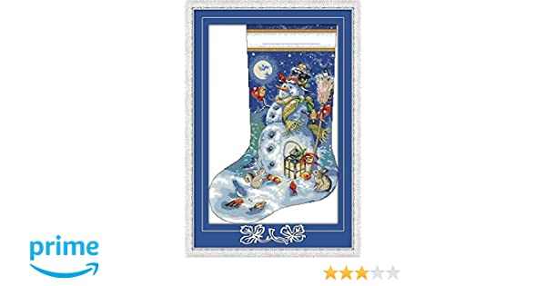 CaptainCrafts New Cross Stitch Kits Patterns Embroidery Kit Santa Claus With Snowman STAMPED Christmas Stockings
