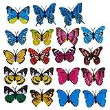 Brosche - TOOGOO(R)20 Stueck 7 cm 3D Kuenstliches Schmetterling Brosche Doppelfluegel fuer Heim Weihnachten Hochzeit Dekoration zufaellige Farbe