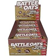Battle Oats High Protein Gluten Free Flapjacks Protein Bar, New Low Sugar Formula, 12 x 70g - Dark Choc Chip