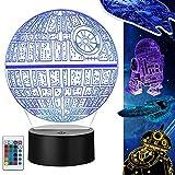 Star Wars 3D Lampe Geschenke, 5 Stück Star Wars 3D Nachtlicht Spielzeug, 16 Farbwechsel mit Fernbedienung oder Touch, 2019 Besten Geschenke für Kinder und Star Wars Fans