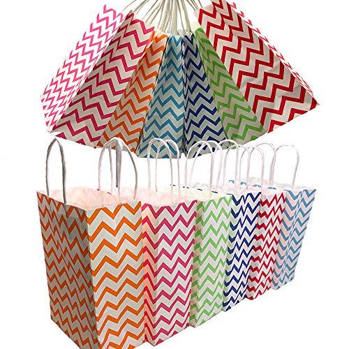 pier Party Taschen Geschenktüte Kraftbeutel mit Griff in Mehrfarben für Geburtstag Tea Party Weihnachten Hochzeit und Party Feiern ()