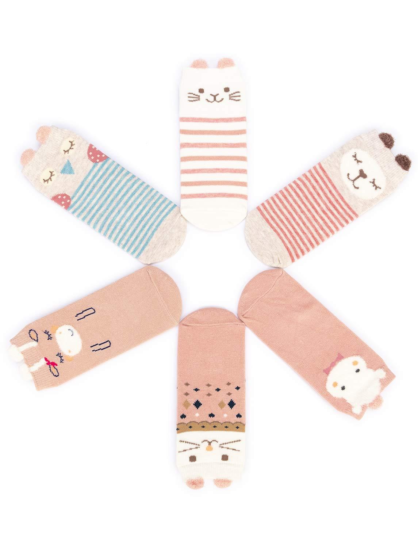 Adorel Calcetines Antideslizantes para Bebé Niñas Paquete de 6 Multicolor 1-3 Años 3