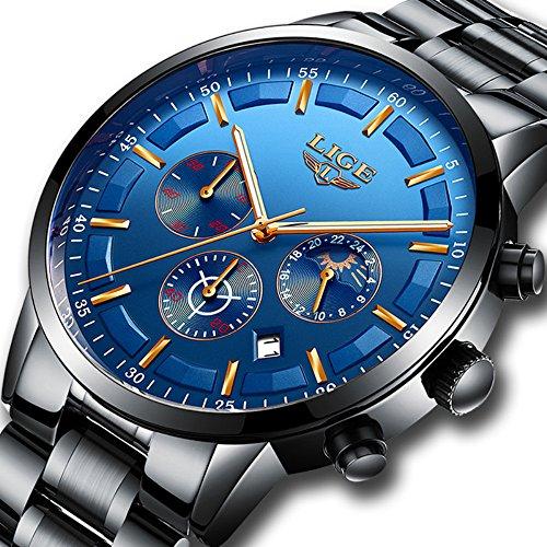 Herren Edelstahl blau Classic Luxus Casual Uhren mit Multifunktional Chronograph Sport Uhren wasserdicht 30m Moon Phase Business Fashion Quartz-Armbanduhr für Herren