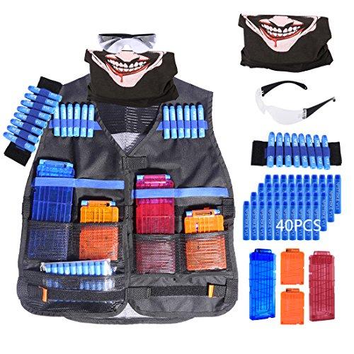Mecotech Gilet Tactique Set de Veste pour Nerf élite Blaster - 40 pcs Fléchettes + 2Pcs Chargeur de 12 Fléchettes + 2Pcs Chargeur de 6 Fléchettes + Couverture Faciale + Lunettes de Protection + Bande de Poignet