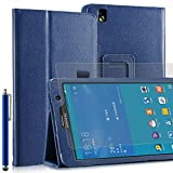 Invero® Samsung Galaxy Tab Pro 8.4 Inch SM-T320 Slim Multi-Function Leather Case Cover with Integrated Typing Stand, Magnetic Closure Wake/Sleep Function Includes Screen Protector, Capacitive Stylus Pen, Micro Fibre Cloth and Application Card - Blue