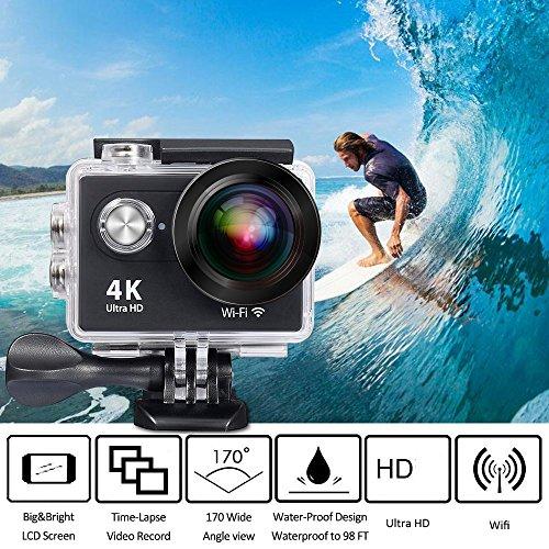 QZT Action Kamera 4K 30FPS Wasserfeste HD Sport Actionskamera mit Wifi und Anti-Shake-Stabilisierung, Full HD 2.0