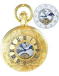 Ogle impermeable oro romano blanco fases y Tourbillon luna colgante collar cadena llavero esqueleto automático mecánico reloj de bolsillo