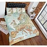 Just Contempo Urban Map-Vintage Print Bettwäsche Bettbezug Mehrfarbig, Grün, Blau, Set für Hundewelpen, Baumwollmischung, Mehrfarbig, Bettbezug Doppelbett