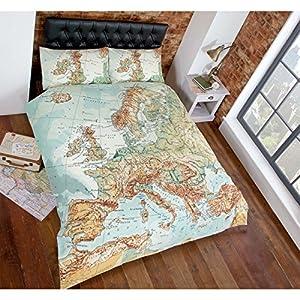 Just Contempo Funda de edredón, diseño vintage de mapa, multicolor