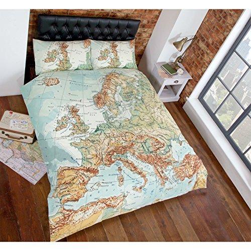 URBAN MAP-Vintage Print Bettwäsche Bettbezug Mehrfarbig, Grün, Blau, Set für Hundewelpen, Baumwollmischung, Mehrfarbig, Bettbezug Doppelbett