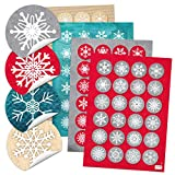 4 x 24 Weihnachtsaufkleber rund SCHNEEFLOCKEN rot weiß türkis beige rot grau Sticker Geschenk-Aufkleber Weihnachten - weihnachtlich Verpackung Geschenke