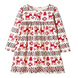 i-uend Weihnachten Baby Kleid, Kleinkind Kinder Baby Mädchen Weihnachtskostüm Langarm Tutu Kleid für 1-7 Jahre