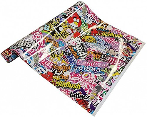Preisvergleich Produktbild NEOXXIM PREMIUM - Auto Folie - Stickerbomb Folie HELLAFLUSH 30 x 150 cm - JDM DUB Klebefolie - blasenfrei mit Luftkanälen ca. 0,16mm dick selbstklebend flexibel