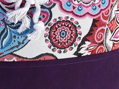 Lila Rucksack mit Mandala, vegane Yoga Sporttasche, großer Seesack aus Canvas - 5