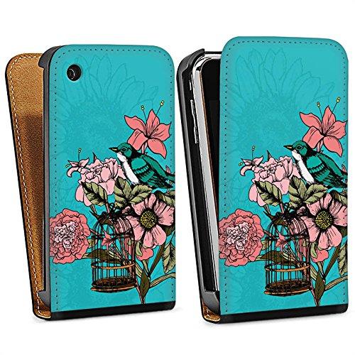 Apple iPhone 4 Housse Étui Silicone Coque Protection Oiseau Fleurs Fleurs Sac Downflip noir