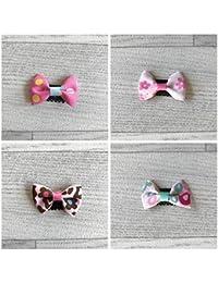 Lot de 4 barrettes magiques qui tiennent sur un cheveu, modèle simple noeud print divers