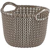 Curver Knit Cesta Redonda de 3 L, Tamaño XS, Resina, Marrón Topo, 20x20x16 cm