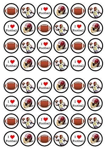 48 Amercian Football, 48 Amerikanische Fußball, Essbare PREMIUM Dicke GEZUCKERTE Vanille, Reispapier Mini Cupcake Toppers, Cake Pops, Cookies für Wafer