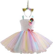FENICAL Unicorn Rainbow Tutu Dress Unicorn Horn Headband Kids Girls Unicorn Costume Set - 6-7Y (Hairband and Dress)(White)