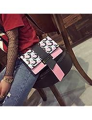 las Mujeres forman la pequeña bolsa cuadrada Golpeó el Color Oblicuo Cruz femenino paquete rosado