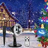 LED Schneeflocke Projektionslampe, Vogek Schneepunkt Projektor Lampe Weihnachtsprojektor mit Fernbedienung Wasserdicht Partylicht Innen Außen für Weihnachten Party Festival