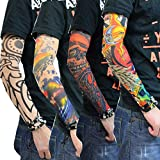Aadishwar Creations Temporary Realistic Fake Slip on Tattoo Arm Cuff Sleeves Covers Stockings (any Design 4 Pair)