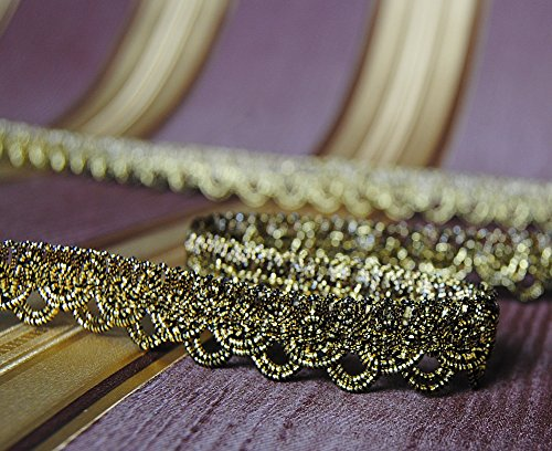Mosel Avenue Art & Gobelin Studio 3,0 m x Luxus Metallisiertes Zierband 15 mm Lurex Schwarz-Gold/3,0-6,0-9,0m uzw/1,3 €/m/Bordüre Brokat...