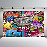 Mehofoto Hip Hop Graffiti Wall Backdrop 7x5ft 90s Party Abstract Art Photo Backdrops Seamless Photography Background