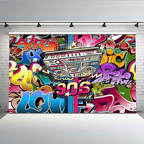 Mehofoto Hip Hop Graffiti Wand Hintergrund 7x5ft 90er Jahre Party abstrakte Kunst Foto Kulissen nahtlose Fotografie Hintergrund - 5' Wand