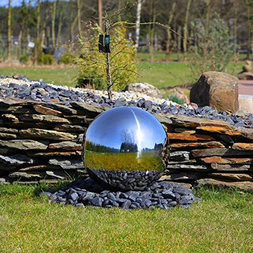 Edelstahl Kugel Element für Springbrunnen Edelstahlkugel 48cm Durchmesser aufwendig poliert für Brunnen Garten Wasserspiel Zierbrunnen DIY