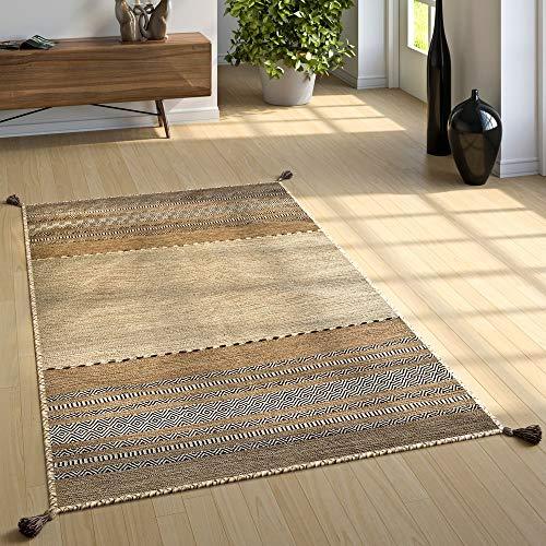Paco Home Designer Teppich Webteppich Kelim Handgewebt 100% Baumwolle Modern Gemustert Beige, Grösse:120x170 cm