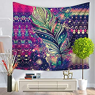 Multi-colored Mandala Tapestry Indian Wall Hangings, Morbuy Art Decor Home Bedroom Living Room Dorm Tapestries Bohemian Dorm Modern Decorative Yoga Beach Bedspread Table Cloth (150 x 200cm, Purple feather)