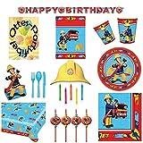 Feuerwehrmann Sam Mega-Partyset 104 Teile für 8 Kinder Teller Becher Servietten Tischdecke Besteck Einladungen Tüten Kerzen Deko