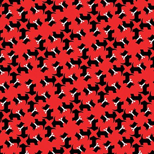 Scottie Hund Stoff-0,5Meterware-von benartex-100% Baumwolle rot -