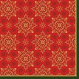 Duni Klassik Serviette Xmas Deco Red 40x40 cm 1/4 Falz 50 Stück 4-lagig, Servietten Weihnachten Xmas Deco Red