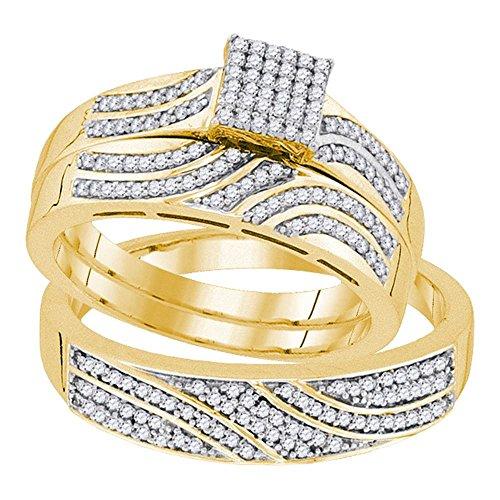 Jewels By Lux  -  10 K Gelbgold Rundschliff Getöntes Weiß/Top Cape (K) Weißer Diamant (10k Birthstone Ring)