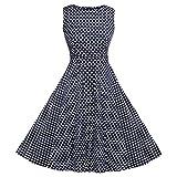 ACEVOG Women's Sleeveless Dress Large Polka Dot Blue