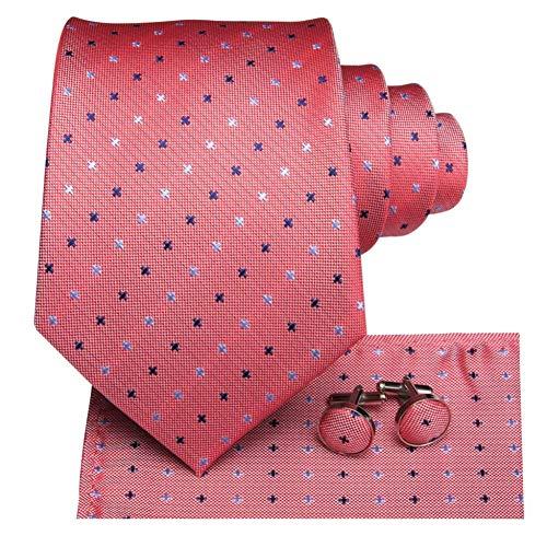 FDHFC 8,5 cm 100% Seide Männer Krawatte Korallen Rosa Dot Krawatten Für Männer Klassische Party Hochzeit Manschettenknöpfe Mode Krawatte Set