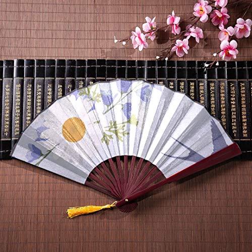 WYYWCY Plain Folding Fan Nette Schwalbe Vögel und Blumen mit Bambusrahmen Quaste Anhänger und Stoffbeutel Handfächer für Frauen Kinder Folding Hand Fan Cute Japanese Fan