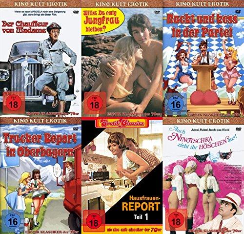 Erotik Kino Kultklassiker DER CHAUFFEUR VON MADAME + AUCH NINOTSCHKA ZIEHT IHR HÖSCHEN AUS + WILLST DU EWIG JUNGFRAU BLEIBEN + HAUSFRAUENREPORT Teil 1 + TRUCKER REPORT + NACKT & KESS IN DER PARTEI 6 DVD Collection