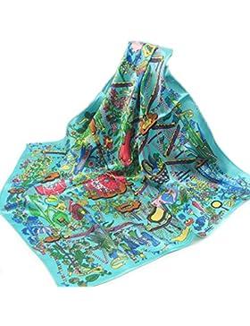Mujeres Moda Seda Impreso Colorido Pequeño Cuadrado Delgado Pañuelo De Cuello Bufanda