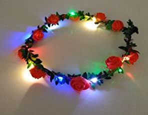 Satyam Kraft Red Paper Bud Floral Rose Flower Tiara for Women
