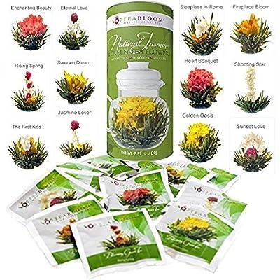 Fleurs de thé Teabloom au meilleur prix - 12 fleurs par cartouche - 36 infusions, 250 tasses - Fleurs de thé vert au jasmin naturel