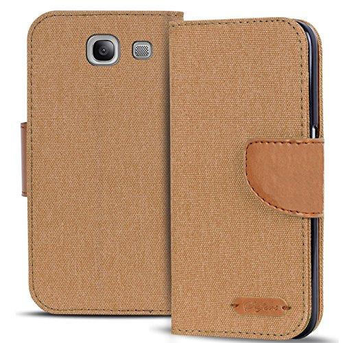 Conie Textil Hülle kompatibel mit Samsung Galaxy A5 2016, Booklet Cover Braune Handytasche Klapphülle Etui mit Kartenfächer